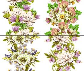 Elegance flowers pattern seamless vector material 04