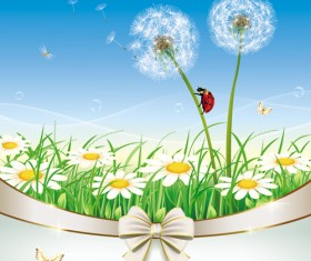Elegant meadow with flowers art background vector 01