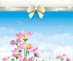 Elegant meadow with flowers art background vector 03