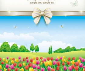 Elegant meadow with flowers art background vector 06