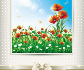 Elegant meadow with flowers art background vector 07