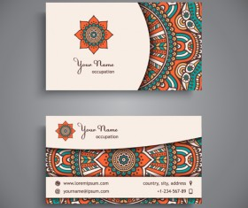 Ethnic decorative elements business card vector 01