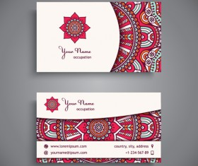 Ethnic decorative elements business card vector 02