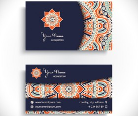 Ethnic decorative elements business card vector 03