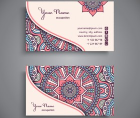 Ethnic decorative elements business card vector 06