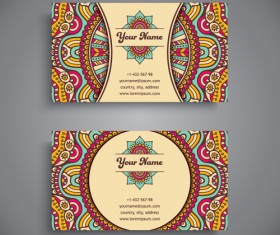 Ethnic decorative elements business card vector 08