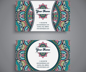 Ethnic decorative elements business card vector 15
