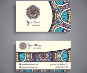 Ethnic pattern business card vintage vector 07