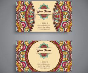 Ethnic pattern business card vintage vector 08