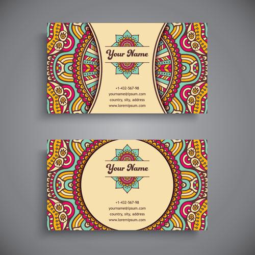 Ethnic Pattern Business Card Vintage Vector 08