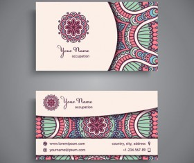 Ethnic pattern business card vintage vector 09