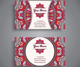 Ethnic pattern business card vintage vector 10