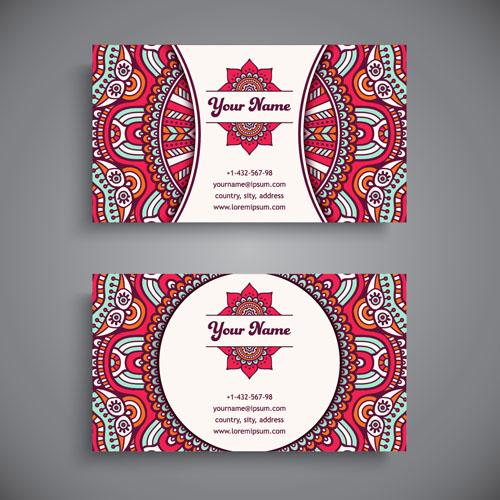 Ethnic pattern business card vintage vector 10