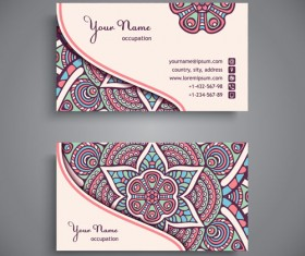 Ethnic pattern business card vintage vector 11