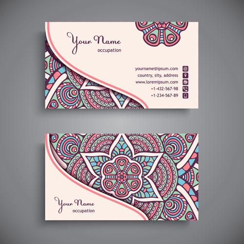 Ethnic pattern business card vintage vector 11