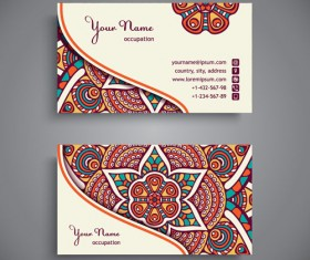Ethnic pattern business card vintage vector 12