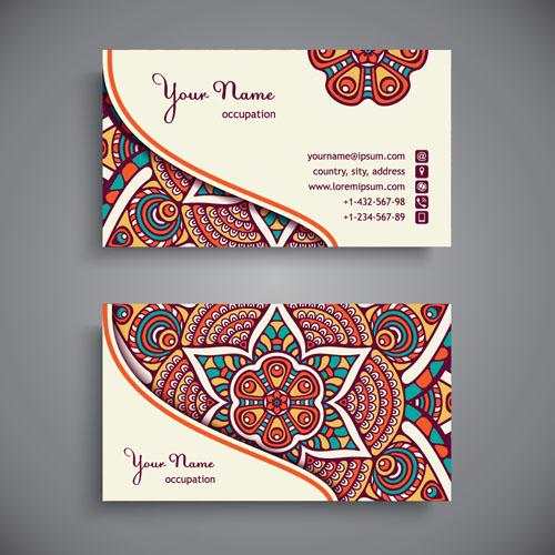 Ethnic pattern business card vintage vector 12