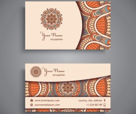 Ethnic pattern business card vintage vector 13