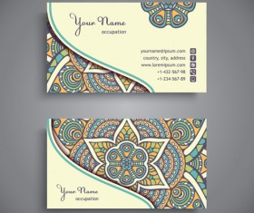 Ethnic pattern business card vintage vector 14