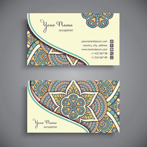 Ethnic pattern business card vintage vector 14