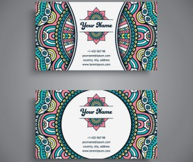 Ethnic pattern business card vintage vector 15