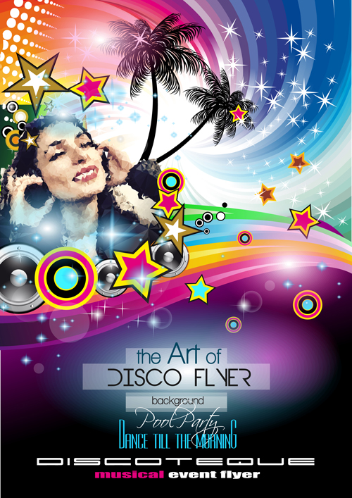 Fashion club disco party flyer template vector 06 free download