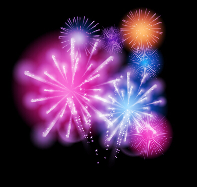 Fireworks salute colored background vector 01