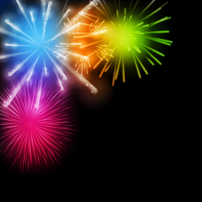 Fireworks salute colored background vector 02