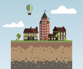 Flat urban landscape and building vector 01
