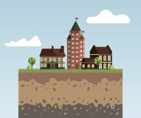 Flat urban landscape and building vector 02