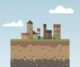 Flat urban landscape and building vector 03