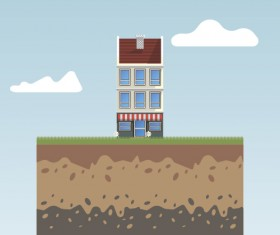 Flat urban landscape and building vector 05