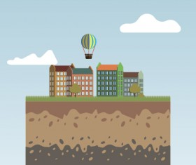 Flat urban landscape and building vector 06