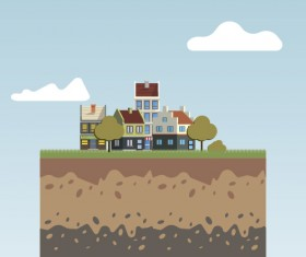 Flat urban landscape and building vector 07