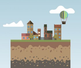 Flat urban landscape and building vector 08