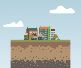 Flat urban landscape and building vector 09