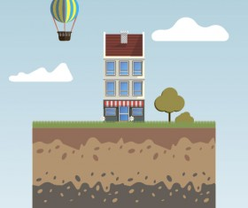 Flat urban landscape and building vector 10