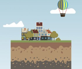 Flat urban landscape and building vector 11