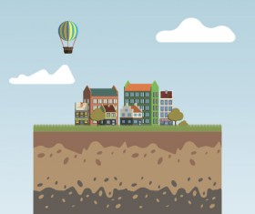 Flat urban landscape and building vector 12
