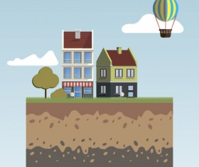 Flat urban landscape and building vector 13