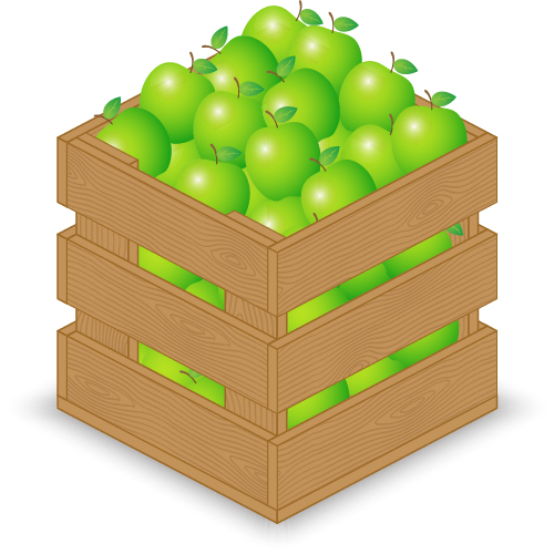 Fruits With Wooden Crate Vector Graphics 01