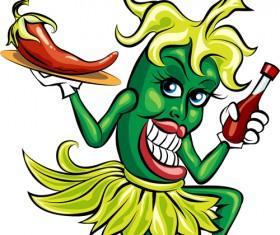 Funny hot pepper cartoon styles vector 01