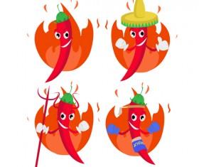 Funny hot pepper cartoon styles vector 05