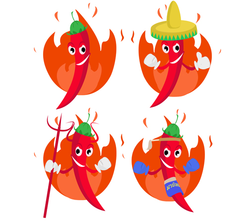 Funny hot pepper cartoon styles vector 05