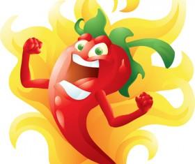 Funny hot pepper cartoon styles vector 09