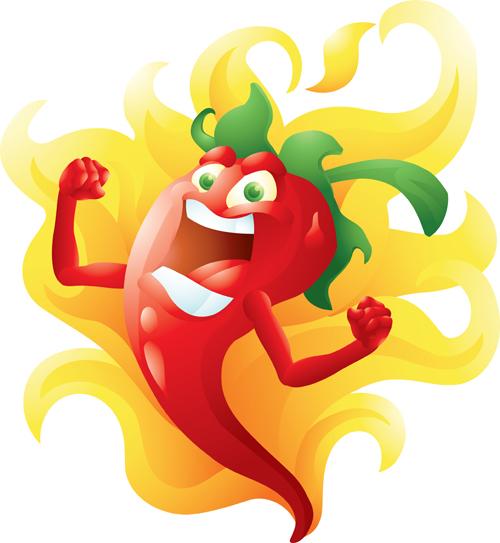 Funny Hot Pepper Cartoon Styles Vector 09 Vector Cartoon