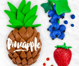 Funny plasticine fruits vector material 05