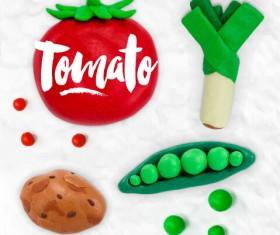 Funny plasticine vegetables vector set 01