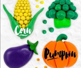 Funny plasticine vegetables vector set 02