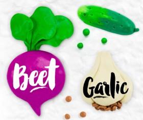 Funny plasticine vegetables vector set 04